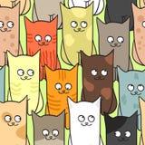 koty barwią śmieszny deseniowy bezszwowego Obrazy Royalty Free