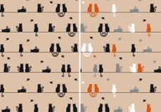 Koty bezszwowy wzór, wektor Obrazy Royalty Free