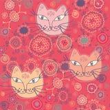 koty deseniują bezszwowego ilustracja wektor