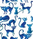 koty deseniują bezszwowego Akwarela skutek Obraz Royalty Free