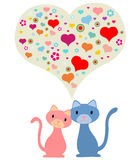 koty dobierają się romantycznego Zdjęcia Stock