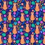 Koty i tropikalni kwiaty ilustracja wektor