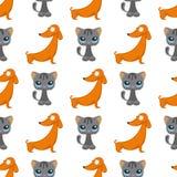Koty są prześladowanym wektorowych ilustracyjnych ślicznych zwierzęcych śmiesznych bezszwowych deseniowych tło charakterów kocieg royalty ilustracja