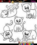 Koty ustawiają kreskówki kolorystyki książkę Zdjęcia Royalty Free