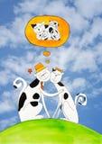 Koty w miłości, dziecko rysunek, akwarela obraz Fotografia Royalty Free