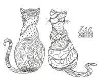 Koty Zen sztuka royalty ilustracja