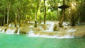 Kouang Si Waterfall, Laos, Luang Prabang. Look with panning stock video footage