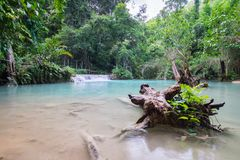 Kouangxi vattenfall på Luangprabang i Laos Royaltyfria Foton