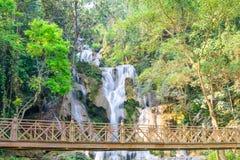 Kouangxi waterfall with wooden bridge at Luang Prabang in Laos Royalty Free Stock Image