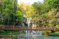 Kouangxi waterfall with wooden bridge at Luang Prabang in Laos Stock Images