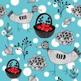 Koud de winter naadloos patroon met witte sneeuwballen en krabbelvogels royalty-vrije illustratie