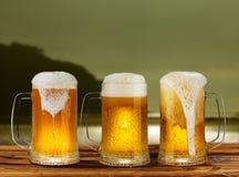 Koud glasmok bier Stock Afbeeldingen