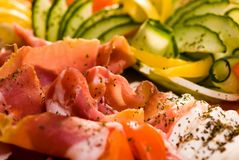 Koud vlees en verse groenten Royalty-vrije Stock Afbeelding