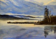 Koude avond op het meer - olieverfschilderij Stock Fotografie