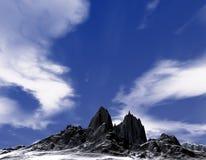 Koude berg met grondsneeuw royalty-vrije illustratie
