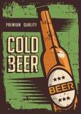 Koude Bier Uitstekende Retro Signage Vector stock illustratie