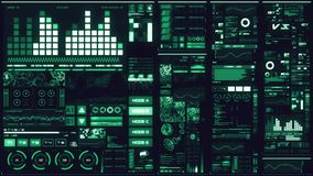 Koude blauwe futuristische interface/Digitale screen/HUD stock video