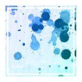 Koude blauwe hand getrokken van het waterverf rechthoekige kader textuur als achtergrond met vlekken stock afbeelding
