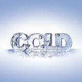 Koude brieven op een blauwe glasoppervlakte Royalty-vrije Stock Afbeeldingen