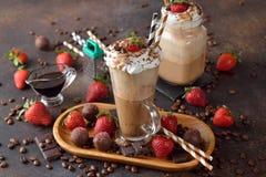 Koude cocktail van koffie met chocolade Stock Foto