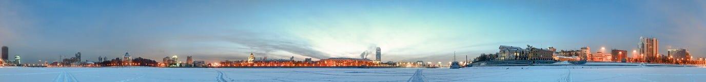 Koude dageraad. De mening van de stad. Royalty-vrije Stock Foto