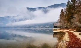 Koude de winterochtend bij het Bohinj-meer in het nationale park van Triglav stock afbeelding