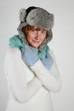 Koude de wintervrouw Stock Afbeeldingen