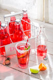 Koude de zomerdrank in fles met citrusvruchten Stock Foto's