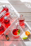 Koude de zomerdrank in fles met muntblad Stock Afbeeldingen