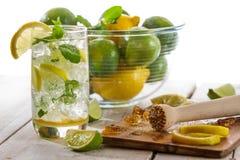 Koude drank met citrusvrucht Stock Afbeeldingen
