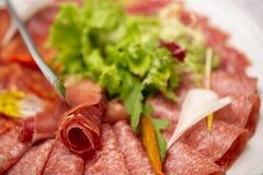 Koude gerookte vleesplaat met varkenskoteletten, prosciutto, salami stock foto's
