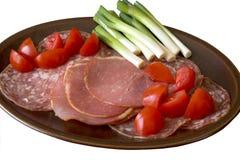 Koude Ham & tomaten stock foto's