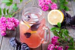 Koude limonade met ijs Stock Afbeeldingen