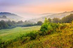 Koude mist op hete zonsopgang in bergen Stock Foto's