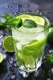 Koude mojito van de de zomerdrank in een lang glas Stock Afbeeldingen