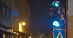 Koude Nachtverkeerslichten stock video