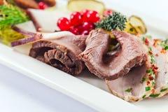 Koude snack met vlees en kruiden royalty-vrije stock foto