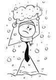Koude Zakenman Walking aan Bureau tijdens het Zware Sneeuwval Sneeuwen Royalty-vrije Stock Afbeeldingen
