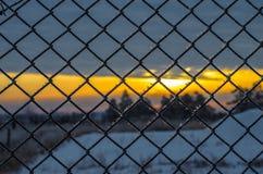Koude zonsondergang. Stock Afbeelding