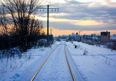 Koude zonsopgang op spoorweg Royalty-vrije Stock Afbeelding