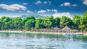 Koukounaries plaża, Skiathos wyspa, Grecja zdjęcia royalty free