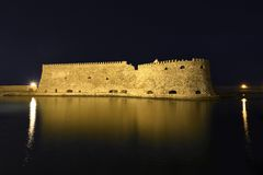 Koules (Castello del Molo) at night, in the port of Iraklion Royalty Free Stock Photography