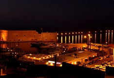 The Koules fortress and the old port of Heraklion at night, Crete island Royalty Free Stock Images