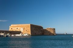 Koules venetian fort heraklion city greece old port clear sky sea royalty free stock photos