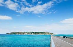 Kouri bridge cross over blue sea to Kouri island, Naha, Okinawa, Japan. Kouri bridge cross over beautiful turqouise blue sea to Kouri island, Naha, Okinawa stock photo