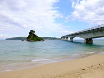 Kouri Island and Bridge. Kouri bridge is the longest toll free bridge with a span of 1,960 meters in Japan Okianwa featuring the spectacular ocean views. A Royalty Free Stock Photos