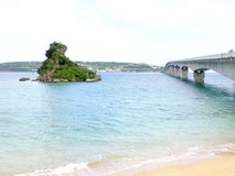 Kouri Island and Bridge. Kouri bridge is the longest toll free bridge with a span of 1,960 meters in Japan Okianwa featuring the spectacular ocean views. A Royalty Free Stock Photography