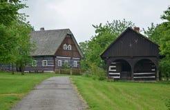 KOURIM - 5月24日:传统村庄房子从17世纪 2014年5月24日 库存照片