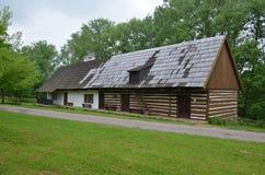 KOURIM - 5月24日:传统村庄房子从17世纪 2014年5月24日 免版税库存照片