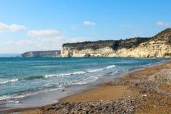 Kourion海滩,塞浦路斯 免版税图库摄影